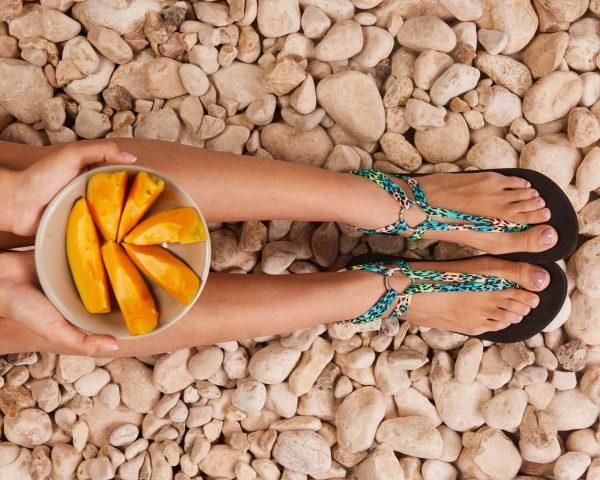 סנדל קיץ עם שרוכים קצרים – טורקיז מנומר