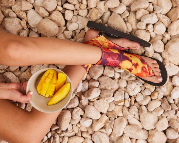 סנדל קיץ עם גרב עליונה – אפרסק